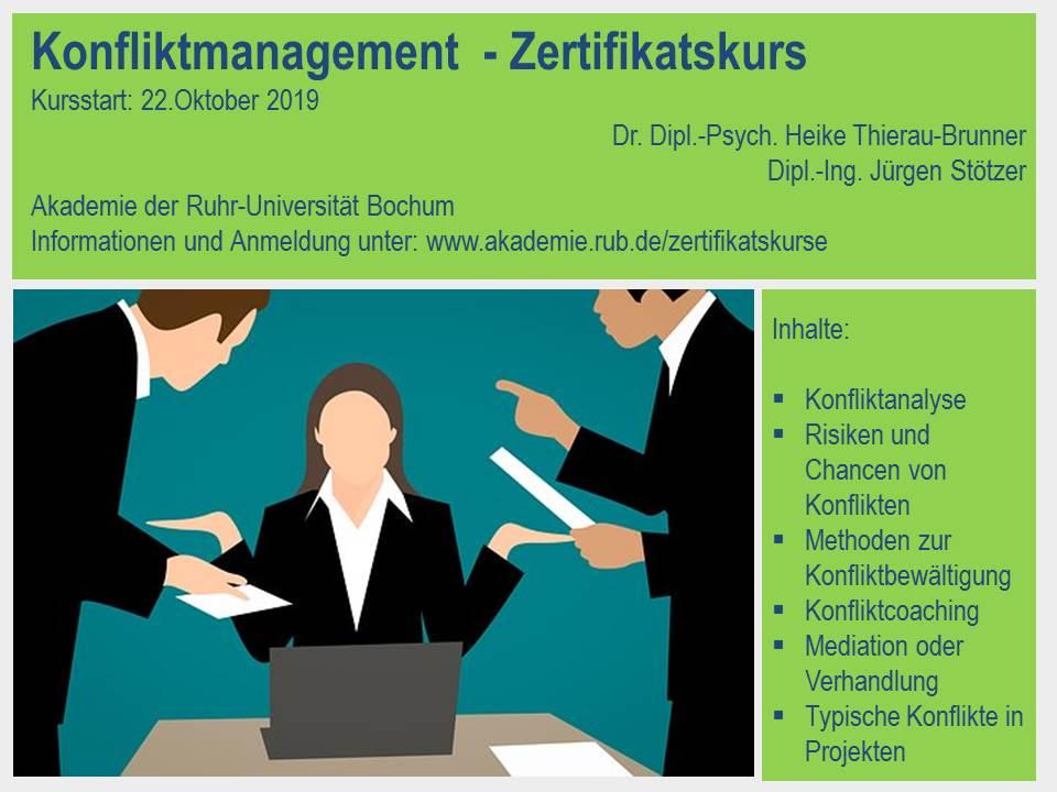 Weiterbildung, Zertifikatskurs Konfliktmanagement im Unternehmen steigert die Effektivität der Projektarbeit.